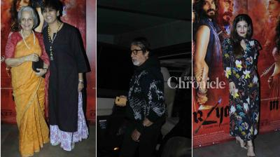 Amitabh Bachchan, Raveena Tandon, Waheeda Rehman and other stars attended a screening of the film 'Mirzya' on Friday. (Photo: Viral Bhayani)