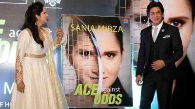Bollywood superstar Shah Rukh Khan on Wednesday launched the autobiography of tennis star Sania Mirza titled 'Ace Against Odds' at the Taj Falaknuma Palace in Hyderabad. (Photo: Pavan Kumar/DC)