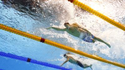Michael Phelps in action at the 4x100m freestyle relay on Monday. (Photo: AP)