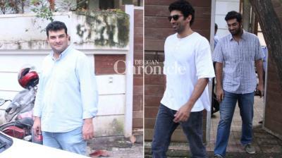 Brothers – Aditya, Siddharth and Kunal Roy Kapur went house-hunting in Mumbai on Wednesday. (Photo: Viral Bhayani)