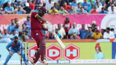 Evin Lewis (100) was at his brutal best as he and Johnson Charles (79) punished Indian attack. (Photo: BCCI)