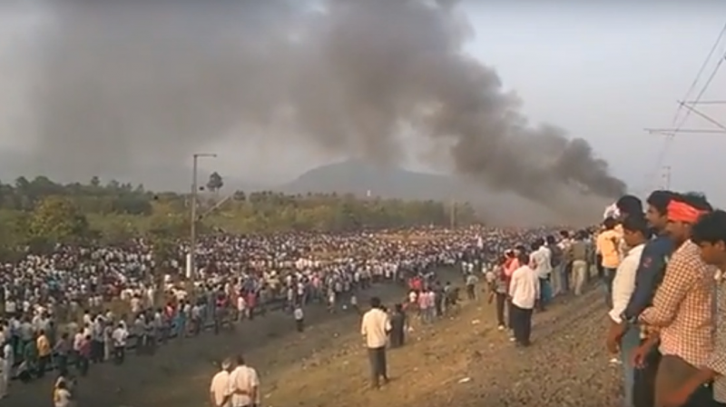 Four railway officials have been injured in the protests and some trains have been delayed following the commotion.(Photo: Twitter)