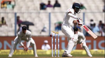 Shikhar Dhawan failed to impress in his comeback Test as he dragged a Matt Henry-delivery onto the stumps. (Photo: AP)