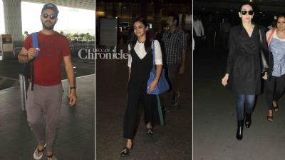 Alia Bhatt, Yuvraj Singh, Karisma Kapoor, 'Mirzya' stars and other Bollywood celebrities were snapped at the airport on Monday. (Photo: Viral Bhayani)