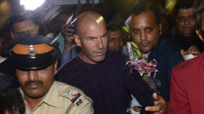 Football legend Zinedine Zidane at the Mumbai airport on Thursday afternoon. (Photo: Rajesh Jadhav/ DC)