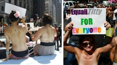 Women around US took off their tops on GoTopless Day to promote gender equality and women's rights to bare their breasts in public. (Photo: AP/AFP)