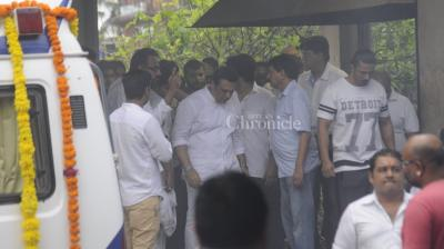 Govinda attends the funeral of Krushna Abhishek's father held on Friday in Mumbai.