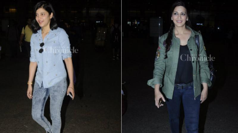 Shruti Hassan and Sonali Bendre spotted at the Mumbai airport. (Pic: Viral Bhayani)