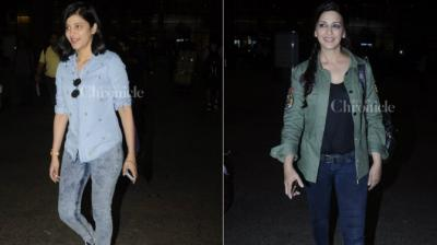 Shruti Hassan and Sonali Bendre spotted at the Mumbai airport. (Pic: Viral Bhayani)