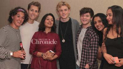Suchitra Krishnamoorthi, on Saturday, hosted a party for the British Band - The Vamps. (Pic: Viral Bhayani)