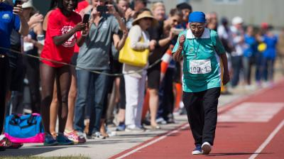 Man Kaur from India needed almost a minute-and-a-half to cross the finish line in the 100-meter dash, but she still picked up a gold medal Monday at the American Masters Games.