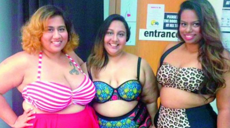 Aarti and her friends in the bikini-clad photo that was taken down by Instagram.
