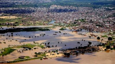 An areal view of flooded affected area in Allahabad.