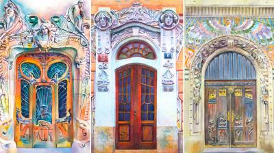 Artist Viktoria Kravchenko draw watercolour paintings of doors worldwide and reminds that doors can also be artwork.