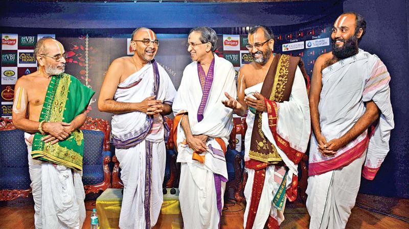 Renowned Vaishnavite scholar Sri Velukkudi Krishnan (second from left) along with other scholars at a joint press meet in Chennai on Thursday. (Photo: DC)