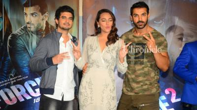 'Force 2,' helmed by Abhinay Deo and starring John, Sonakshi and Tahir Raj Bhasin, had a warm trailer launch on Thursday. (Pic: Viral Bhayani)
