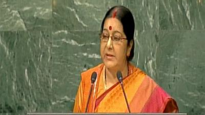 External affairs minister Sushma Swaraj addressing the United Nations General Assembly. (Photo: Twitter/ANI)