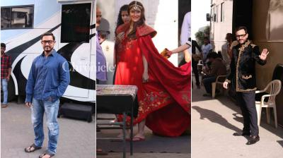 Kareena Kapoor Khan looked beautiful dressed in princess attire and Aamir Khan was snapped in his new look while Sushant Singh Rajput and Saif Ali Khan were also spotted at a studio in Mumbai. (Photo: Viral Bhayani)