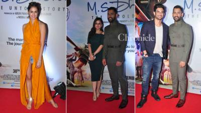 The team of 'M. S. Dhoni: The Untold Story' held the premiere of the film on Thursday which was attended by several celebrities. (Photo: Viral Bhayani)