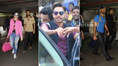 Varun Dhawan, Riteish Deshmukh and other stars were snapped at various places while MS Dhoni, Tamannaah Bhatia among others were snapped at the airport on Thursday. (Photo: Viral Bhayani)