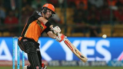 David Warner reached his half-century in 24 balls in the IPL final between Sunrisers Hyderabad and Royal Challengers Bangalore in Bengaluru on Sunday. (Photo: BCCI)