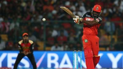 Royal Challengers Bangalore opener Chris Gayle in action against Sunrisers Hyderabad in the IPL final at M Chinnaswamy Stadium in Bengaluru on Sunday. (Photo: BCCI)