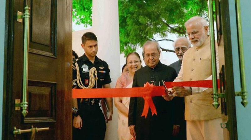 Prime Minister Narendra Modi,on Monday inaugurated Phase-II of the Rashtrapati Bhavan Museum, in the presence of President Pranab Mukherjee, Vice President Hamid Ansari and other dignitaries.