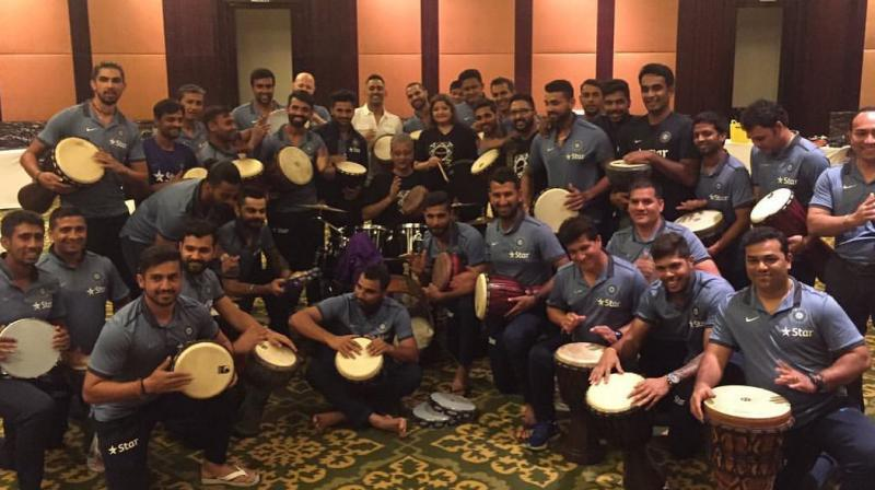 The members of the Indian team, including Dhoni, got involved in an entertaining drumming session with singer Vasundhara Das. (Photo: Cheteshwar Pujara Facebook)