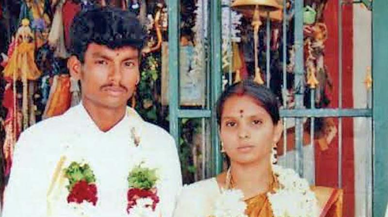 Dalit youth Shankar and wife Kausalya at the time of their marriage. (Photo: DC)