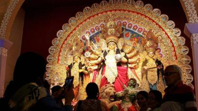 The five-day gala of Durga Puja 2016 commences from October 7 and lasts until October 11. Many pandals around the city come up with unique themes to entertain the masses. Devotees offers prayers to Goddess Durga and other deities at a Durga Puja pandal in Gurgaon.