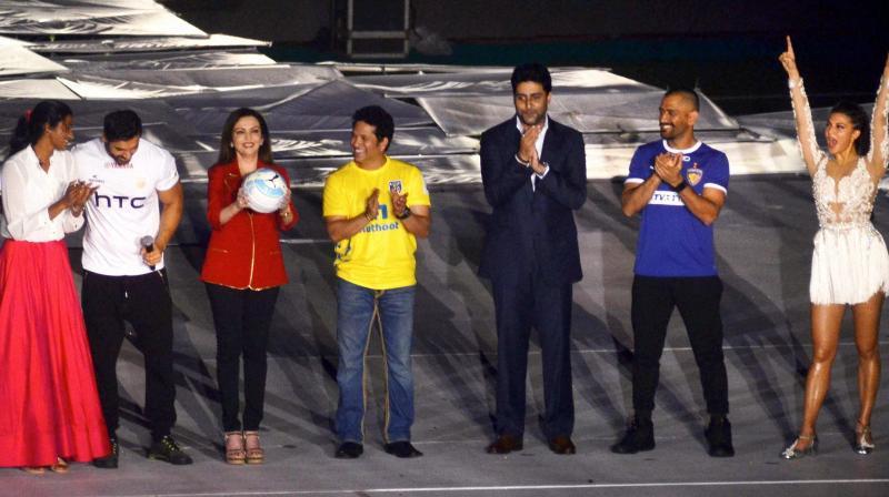 P V Sindhu, John Abraham, Nita Ambani, Sachin Tendulkar, Abhishek Bachchan, M S Dhoni and Jacqueline Fernandez during the opening ceremony of the Indian Super League (ISL).