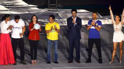 P V Sindhu, John Abraham, Nita Ambani, Sachin Tendulkar, Abhishek Bachchan, M S Dhoni and Jacqueline Fernandez during the opening ceremony of the Indian Super League (ISL).
