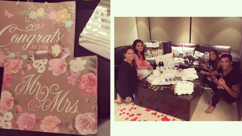 Wedding Gifts For Friends In Chennai : ... shower Bipasha Basu and Karan Singh Grover with adorable wedding gifts