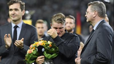 Bastian Schweinsteiger broke into tears during his farewell ceremony.