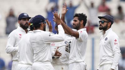 With three wickets in quick succession, Bhuvneshwar Kumar and Mohammed Shami have pushed New Zealand on the backfoot. (Photo: AP)