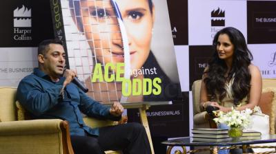 After Shah Rukh Khan and Parineeti Chopra, Salman Khan unveiled Sania Mirza's autobiography titled 'Ace against Odds' in Mumbai on July 17. Photo: Viral Bhayani