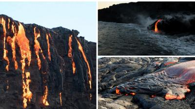 For the first time in three years, lava from a volcano on Hawaii's Big Island has crept down miles of mountainside and is dripping into the Pacific Ocean, where it's creating new land and putting on a crackling, hissing, fire-spitting show.