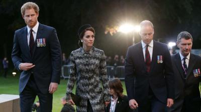 Britain's Duke and Duchess of Cambridge and Prince Harry on Thursday paid tribute to a generation lost at the Battle of the Somme, during the First World War 100 years after the deadliest battle in British history.