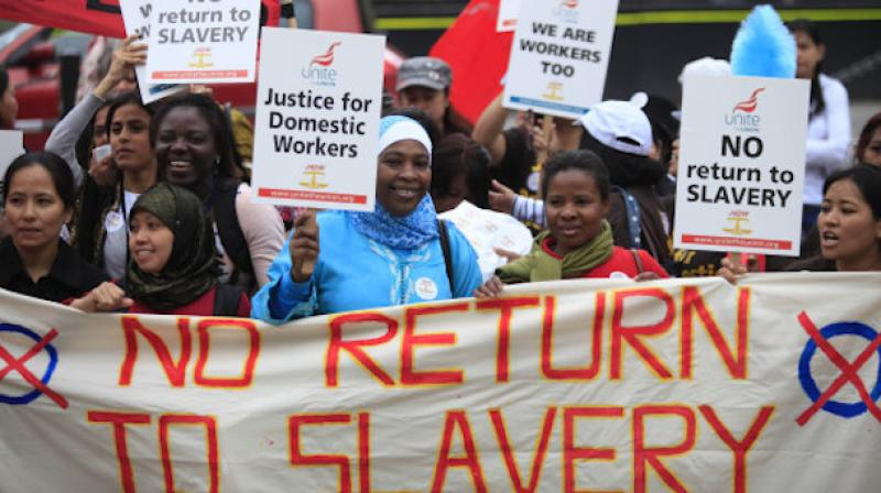 Migrant domestic workers demonstrating in central London. (Photo: AP)