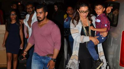 Ajay Devgn took wife Kajol and his two kids Nysa and Yug, for dinner at a plush restaurant in Mumbai last evening. Photo: Viral Bhayani
