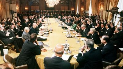 Britain was not included when the precursor to the EU was formed following World War II, but finally joined the group known at the time as the European Economic Community, or the Common Market — on January 1, 1973. This is the view of the first opening session of a conference for members of the newly enlarged European Common Market. Leaders of Common Market countries attend summit meeting in Paris. Present at this meeting, the first of the newly expanded European organization, were chiefs of state of France, Great Britain, Italy, West Germany, Denmark, Ireland, Holland (Netherlands), Belgium and Luxembourg. Talks were being held at the International Conference Centre in Paris.