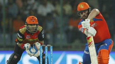 Aaron Finch in action during the second qualifier between Sunrisers Hyderabad and Gujarat Lions in New Delhi on Friday. (Photo: BCCI)