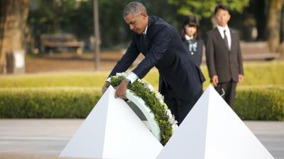 Barack Obama on Friday paid moving tribute to victims of the world's first nuclear attack during a historic visit to Hiroshima.