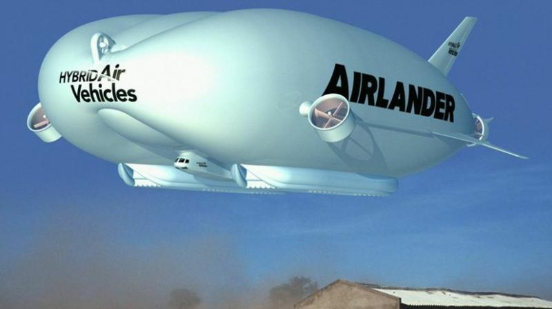 The Airlander 10, part airship and part airplane, is the world's largest aircraft built by the the Hybrid Air Vehicles in UK.