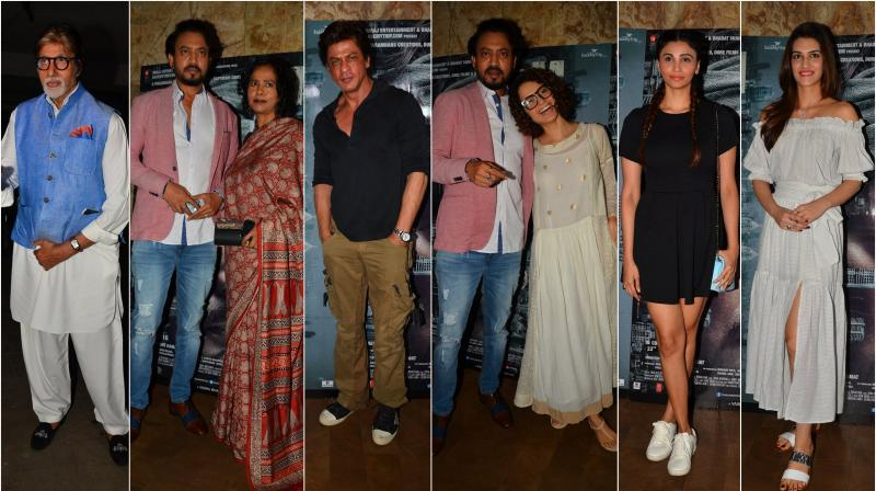The who's who of Bollywood such as Shah Rukh Khan, Kangana Ranaut, Amitabh Bachchan and others came down to attend the special screening of Irrfan Khan's 'Madaari' on Wednesday in Mumbai. (Photo: Viral Bhayani)