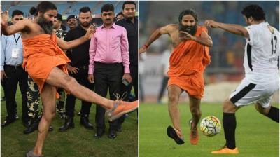 An entertaining and star-studded match of football took place in Delhi on Sunday evening, where Members of Parliament clashed with Bollywood stars. The match was kicked off by Baba Ramdev. (Photo: PTI/AFP)