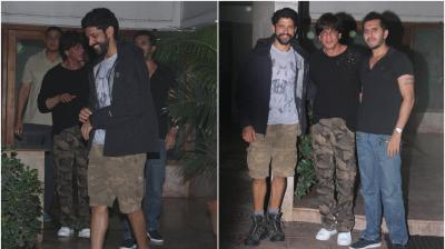 Bollywood's 'Don', Shah Rukh Khan paid his 'Raees' producers Farhan Akhtar and Ritesh Sidhwani a late night visit at their Excel office in Mumbai on Tuesday. (Photo: Viral Bhayani)