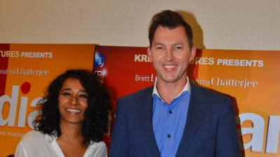 Former Australian fast bowler Brett Lee was snapped with his co-star Tannishtha Chatterjee promoting their upcoming film 'UnIndian' in Mumbai on Tuesday. (Photo: Viral Bhayani)