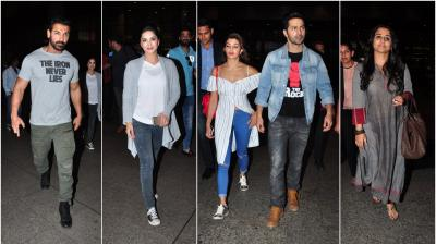 Mumbai airport saw a lot of action go down on Thursday as biggies from Bollywood were spotted leaving the premises. (Photo: Viral Bhayani)