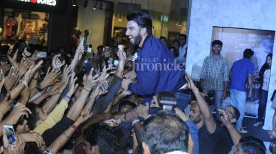 During a product launch in Mumbai on Monday, Ranveer Singh did what he does best, get everyone all pumped up with his energy. (Photo: Viral Bhayani)